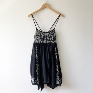 American Eagle Outfitters Gray Dress Embroidery